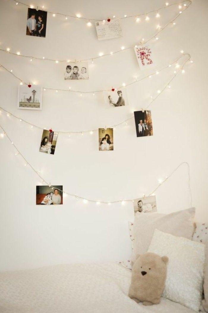 guirlande lumineuse decorative sur les murs dans la chambre ado ...