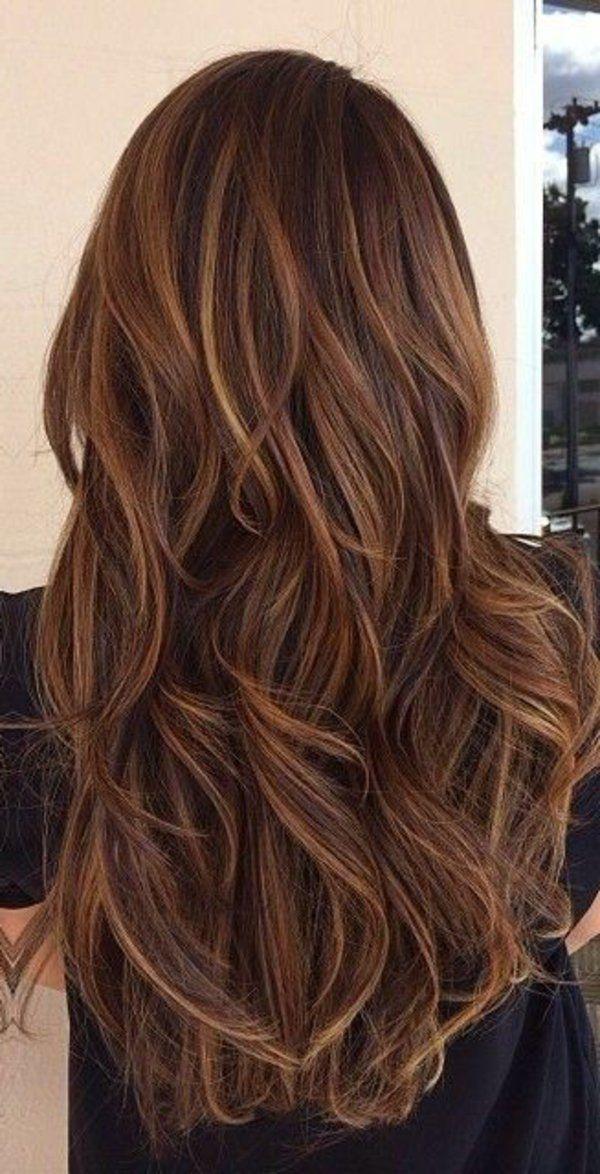 brunette avec longs cheveux, balayage, fille – nanapoulinette