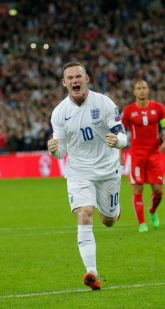 Wayne Rooney celebrates beating the record held by Bobby Charlton, to become England's top scorer. – kingovermars77