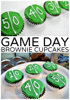 Easy Game Day Brownie Cupcakes – Our New Football Game Watching Tradition – at B-Inspired Mama – EmilyGolday