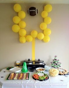 Football party idea!  The yellow posterboard and yellow balloons cost under $2.00.  I would suggest tacks for hanging it up.  Find any football that you can hang and ta da! – corralesadriana