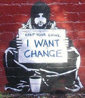 Gardez vos pièces de monnaie, je veux changer / Banksy – Carlinnnn