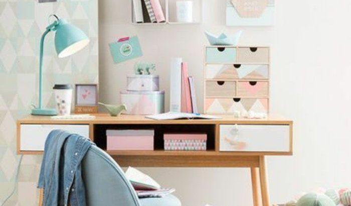espace bureau vintage, décoration chambre ado fille en ...