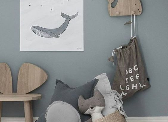 Chambre enfant decoration bord de mer deco en gris en bleu ...